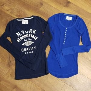 Two areopostale long sleeve tops.